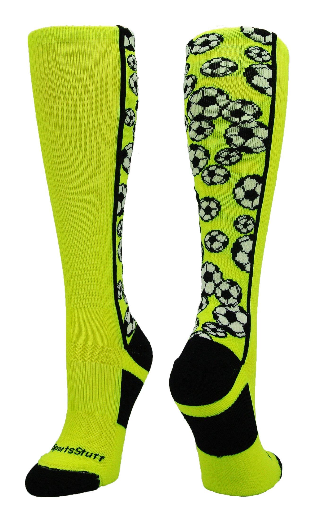 MadSportsStuff Crazy Soccer Socks with Soccer Balls Over The Calf (Neon Yellow/Black, Medium) by MadSportsStuff