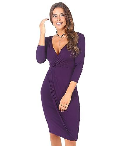 KRISP Womens Fashion Casual Chic 3/4 Sleeve Jersey Wrap Midi Stretch Knee Length