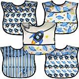iplay アイプレイ お食事エプロン 5枚セット 防水 スタイ ビブ 食べこぼしポケット付 9-18ヶ月 (ロケットブルー)