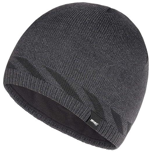 8e2f38ac915 Bodvera Winter Warm Knitting Beanie Watch Cap Fleece Lined Plain Toboggan Ski  Skull Hats Caps