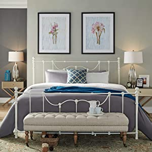 Inspire Q Bellwood Victorian Iron Metal Bed by Classic Antique White Antique Full