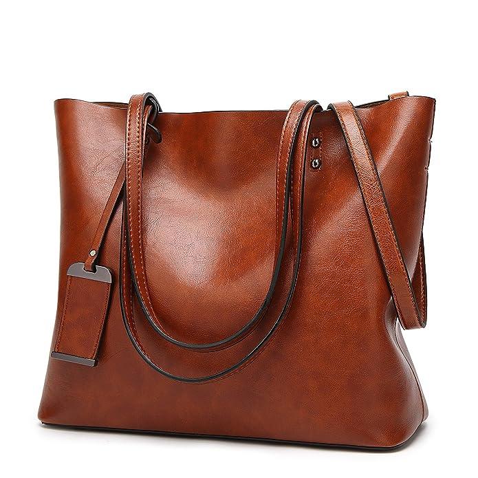ALARION Women Top Handle Satchel Handbags Shoulder Bag Messenger Tote Bag Purse Brown