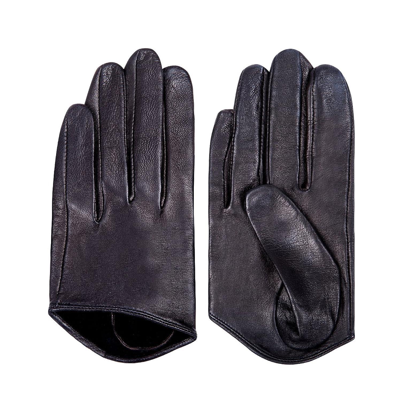 Black leather driving gloves - Matsu Wild Fashion Women Half Palm Leather Driving Gloves 9248 S Black At Amazon Women S Clothing Store
