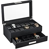 Watch Box with Valet Drawer for Men - 12 Slot Luxury Watch Case Display Organiser, Carbon Fibre Design for Mens Jewellery Watches, The Men's Storage Boxes Holder Boasts a Large Glass Top, Metal Buckle