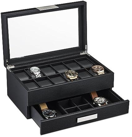 Caja para reloj con cajón valet para hombres – estuche de lujo para