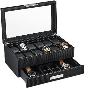Montre Boîte avec tiroir Valet pour homme – 12 logement de luxe boîtier de  montre Affichage 473aeef5ee2d