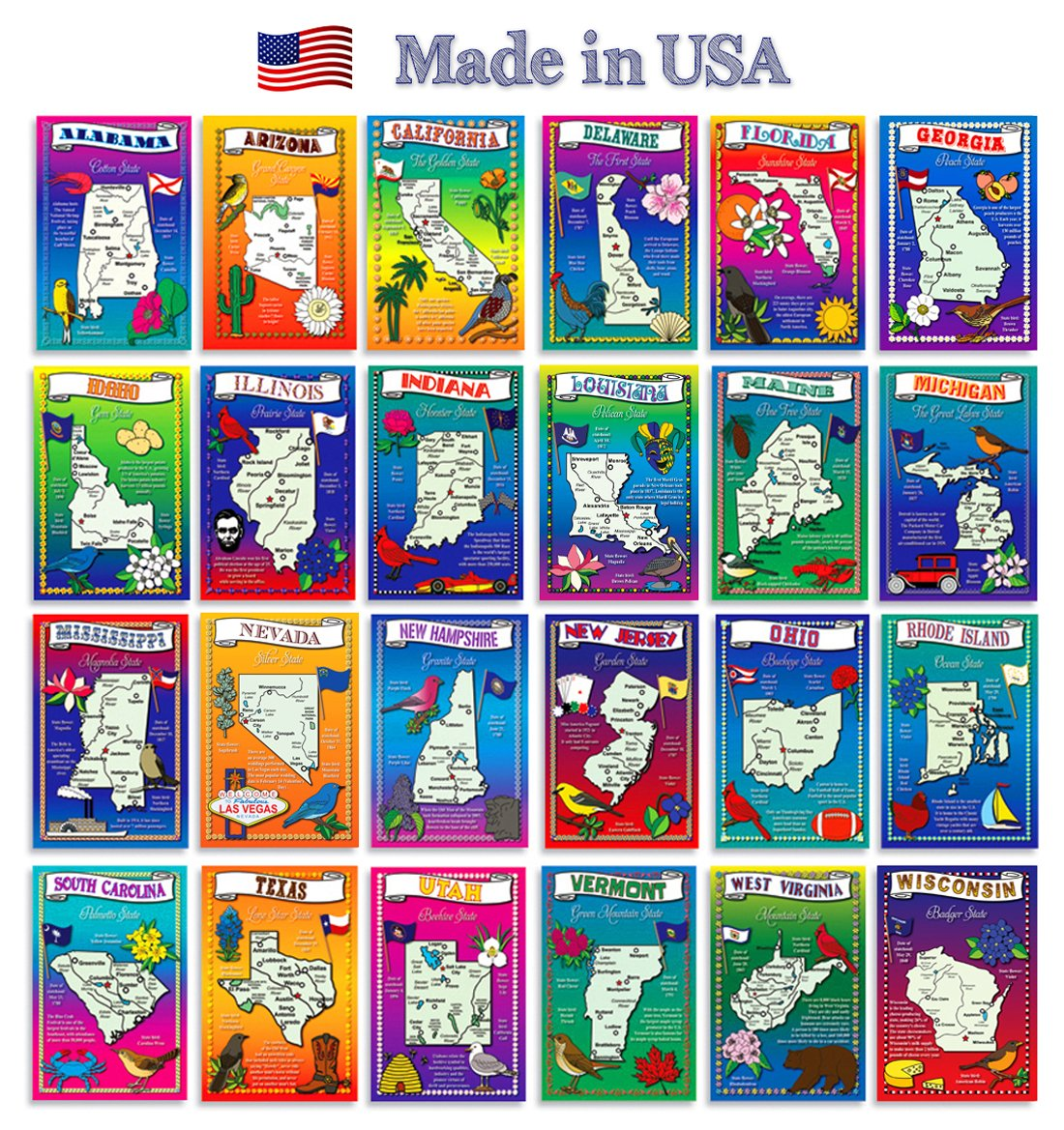 Amazoncom US State Map Postcard Set Modern Post Card - Fifty states map