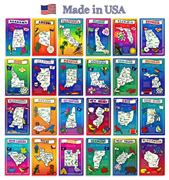 Amazoncom US State Map Postcard Set Modern Post Card - Fifty us map game