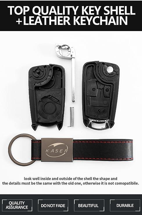 Carcasa Funda Llave Remoto Mando 2 Botones para Opel Vectra Astra Tigra Corsa con Llavero de Cuero KASER: Amazon.es: Electrónica