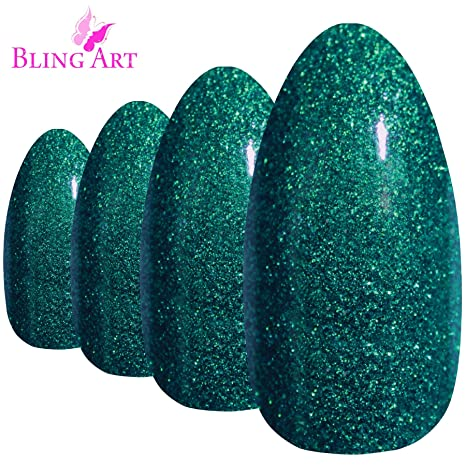 Uñas Postizas Bling Art Estilete Verde Gel 24 Almendra Largo Falsas puntas acrílicas con pegamento