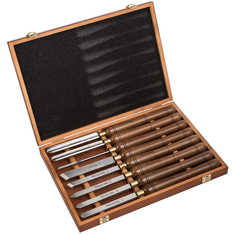 IMOTECHOM 8-Pieces HSS Wood Turning Tools Lathe Chisel Set with Walnut Handle (Wooden Storage Case)