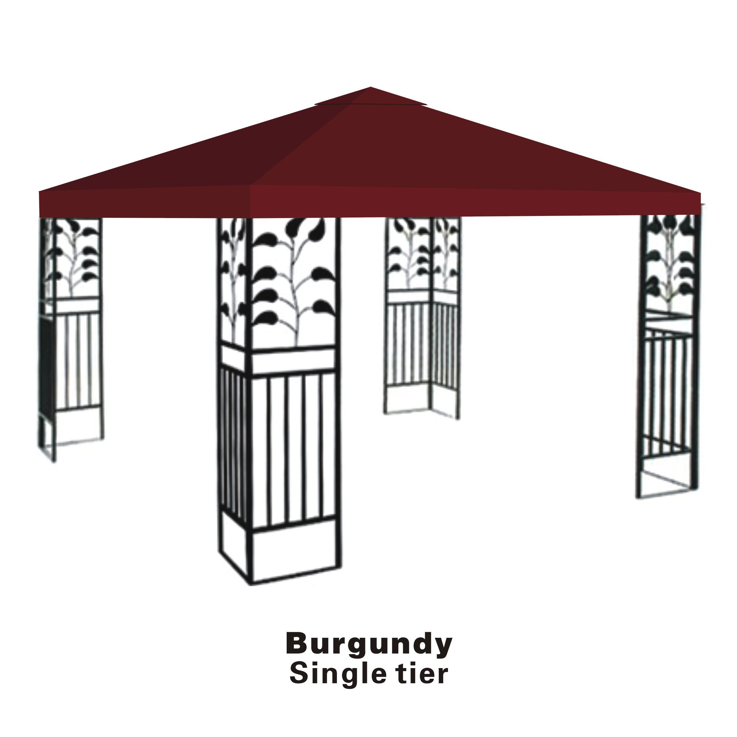 STRONG CAMEL Replacement 10'X10'gazebo canopy top patio pavilion cover sunshade plyester single tier-BURGUNDY