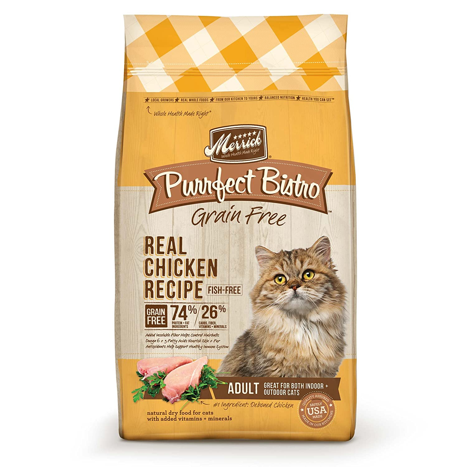 Amazon.com : Merrick Purrfect Bistro Grain Free Real Chicken Adult Dry Cat Food, 4 Lbs. : Dry Pet Food : Pet Supplies