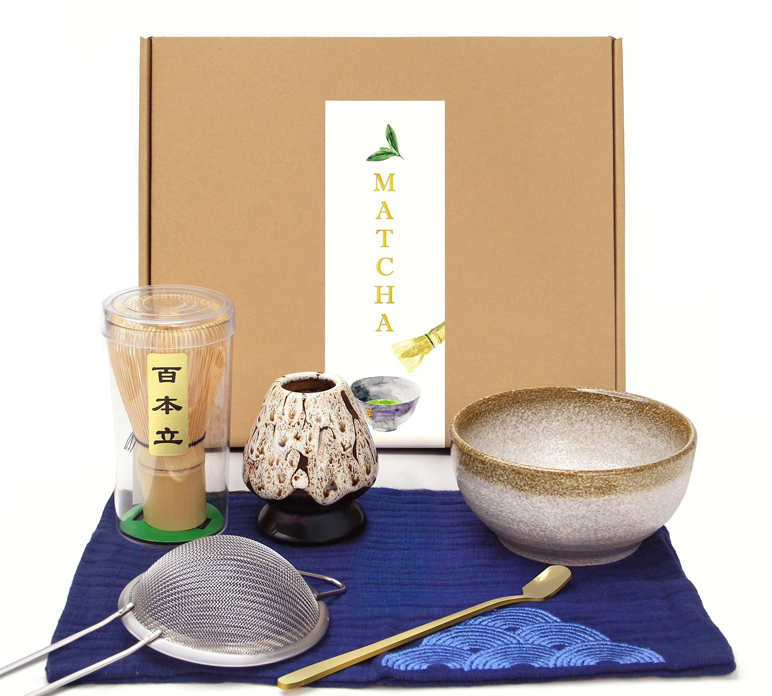 Japanese Matcha Set, Matcha Whisk(Matcha Stirrer 100 Prong), Scoop, Matcha Bowl, Ceramic Whisk Holder, Matcha Caddy, Handmade Matcha Ceremony Kit For Traditional Japanese Tea Ceremony