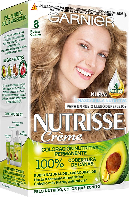 Garnier Nutrisse Creme coloración permanente con mascarilla nutritiva de cuatro aceites - Rubio Claro 8.0