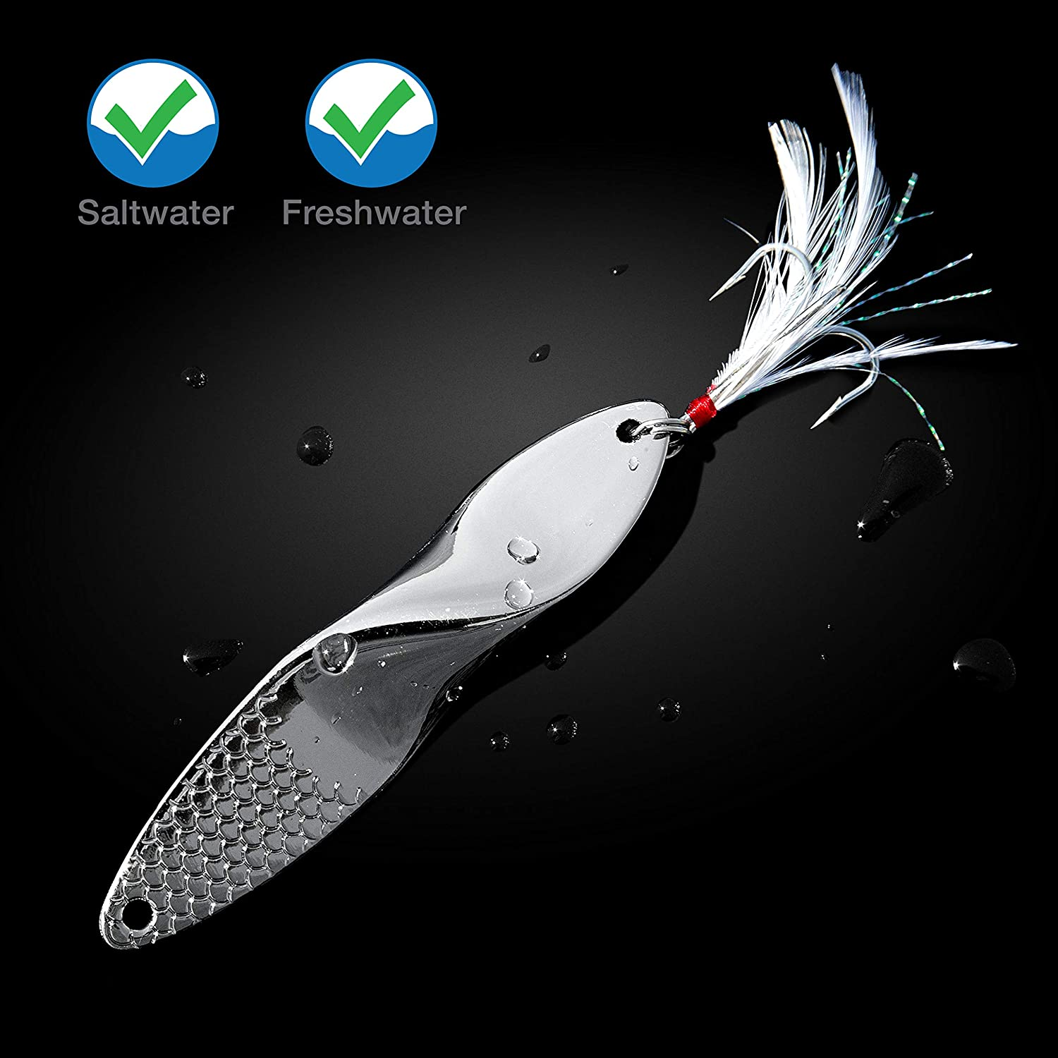 Propeller Lure Fishing Lures Set of 2 Trout Spoons Saltwater Treble Hooks Bass Metal Fishing Lure Silver 1.4-Ounce