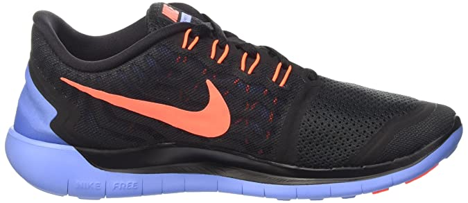 Womens Nike Free 5.0 Running Shoes BlackBright MangoVolt (5 B(M) US)