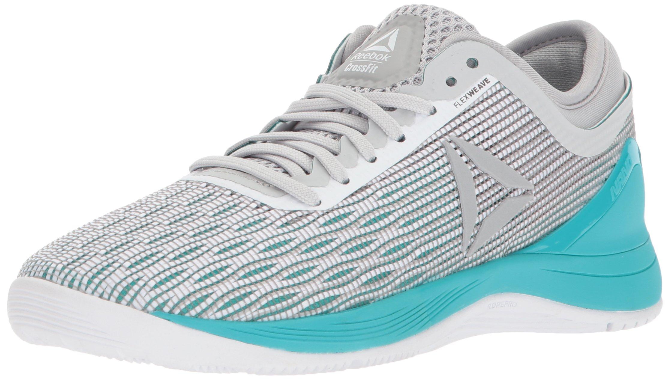 Reebok Women's CROSSFIT Nano 8.0 Flexweave Cross Trainer, White/Stark Grey/Grey/Classic White/Turquoise, 7 M US