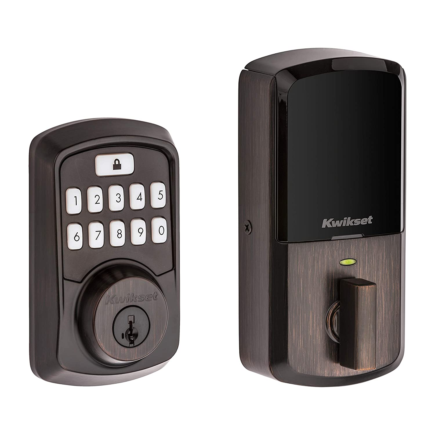 Kwikset 99420-002 Aura Bluetooth Programmable Keypad Door Lock Deadbolt Featuring SmartKey Security, Venetian Bronze