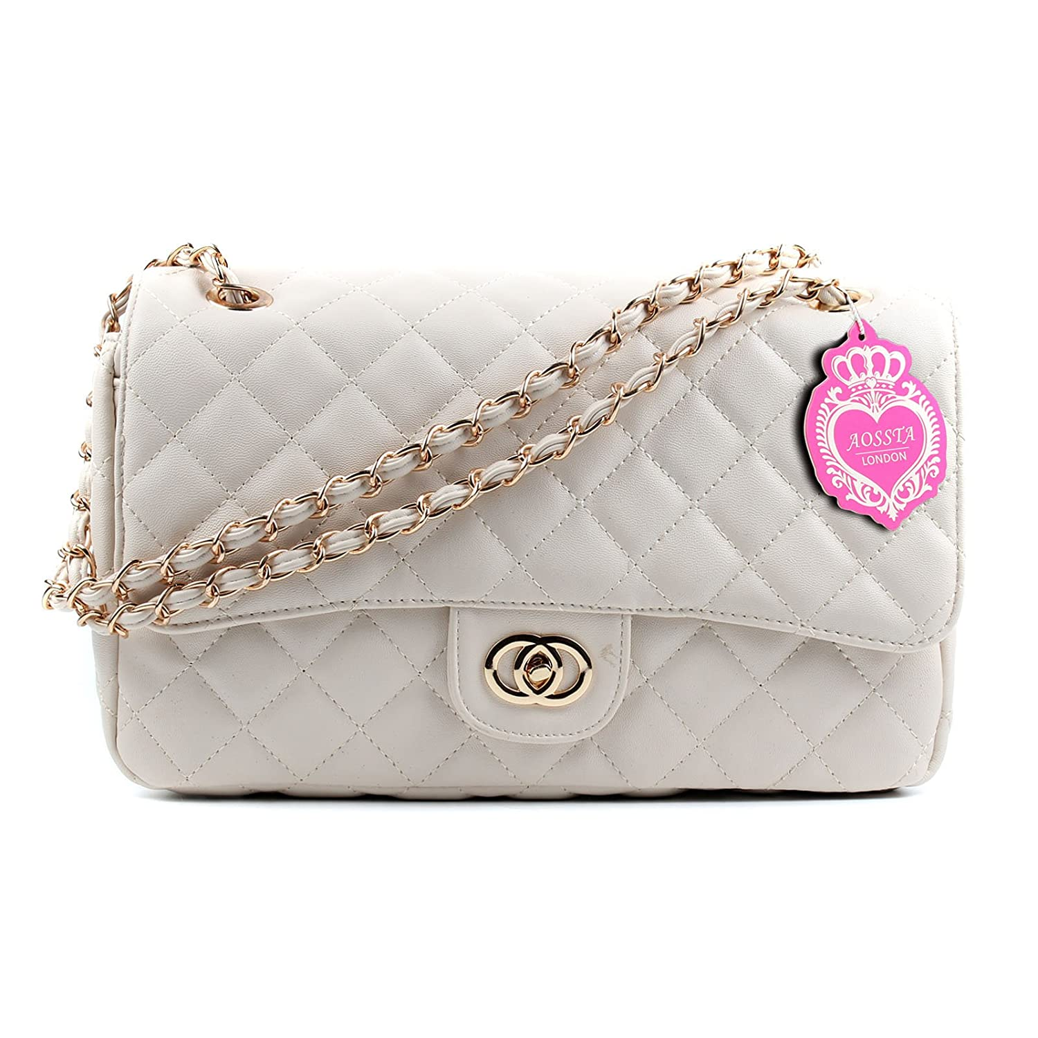 c32cd8998e Aossta Womens Large Faux Leather Quilted Twist Lock Shoulder Bag (6020  Beige)  Amazon.co.uk  Shoes   Bags