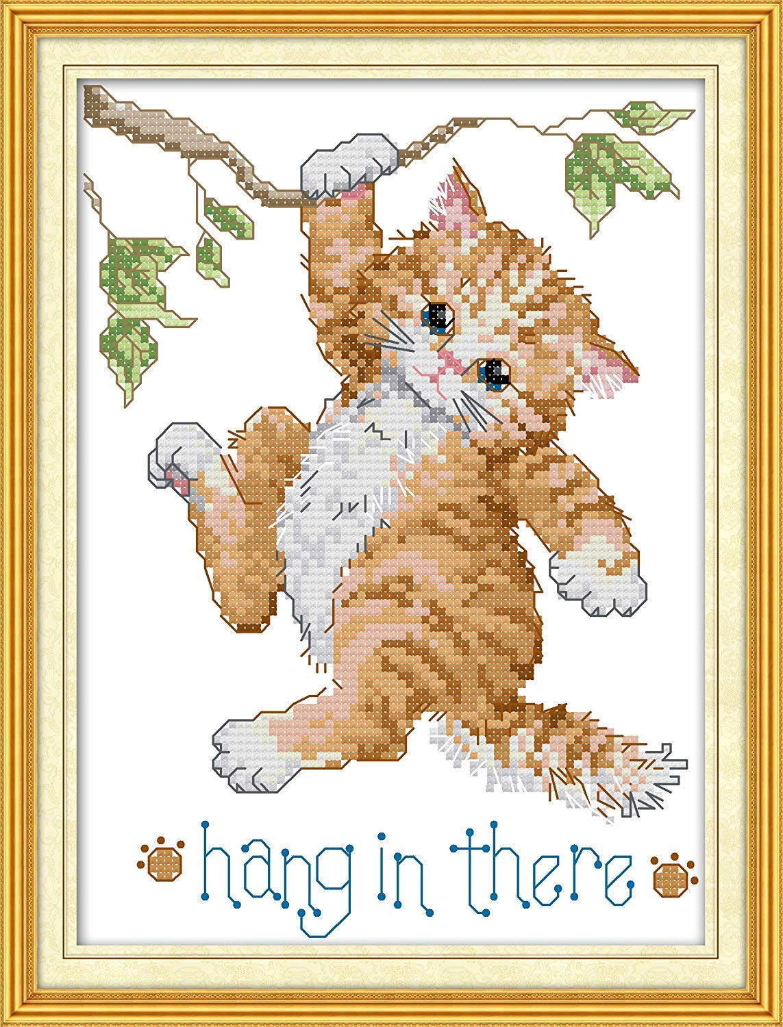 Cross Stitch Stamped Kits Quilt Pre-Printed Cross-Stitching Patterns for Beginner Kids Adults Embroidery Crafts Needlepoint Starter Kits for Home Wall Decor Maple Leaf Pattern