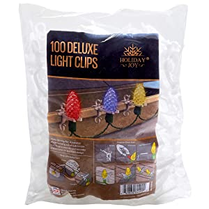 Holiday Joy - 100 Deluxe Professional Grade Gutter & Shingle Light Clip Hooks - Made in USA
