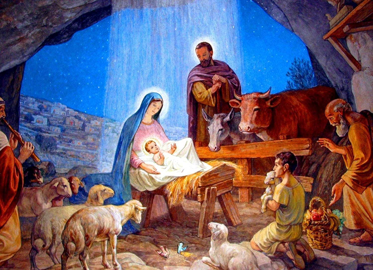 Amazon.com: Nativity Scene Christmas POSTER Painting Artwork print A3 Holy  Family Mary and Baby Infant Jesus picture Christian Catholic Religious Wall  Art Decor for Home Room Chapel: Handmade