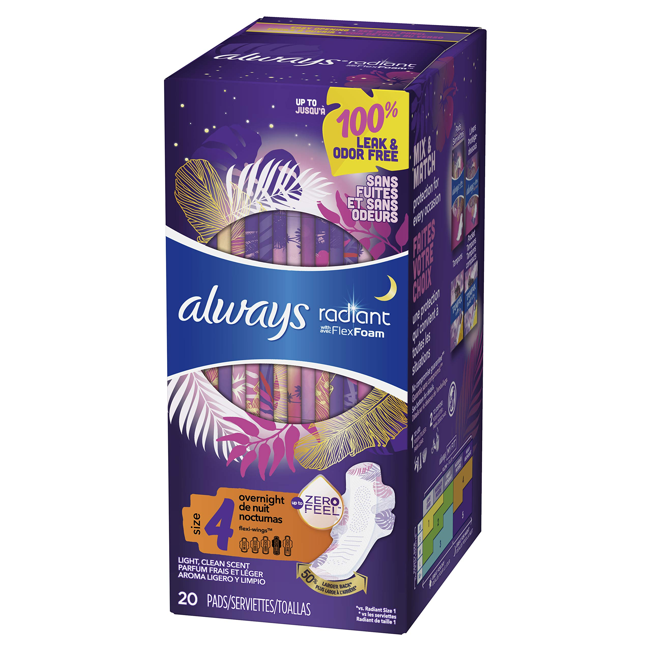 Always Radiant Pads, Size 4, Overnight Absorbency, Scented, 20 Count