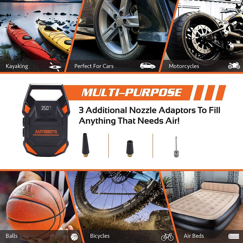 2019 Model 12v Tire Inflator With Digital Pressure Gauge Autobots Portable Air Compressor Pump Includes Hose /& Accessories Perfect For Automobiles Car /& Bike Tires