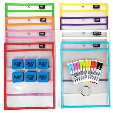 [15 Pack] 10x14 Premium Reusable Dry Erase Pockets with Unlimited  WORKSHEETS & Free Bonuses  Each Heavy Duty Dry Erase Pocket Ideal for  Office, School
