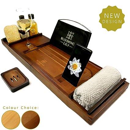 44d19a17c5e15 Blooming Lily Luxury Bath Tub Caddy Tray (Dark Brown)