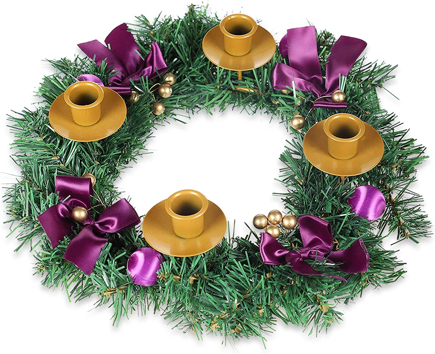 MorTime Christmas Advent Wreath, 14 in Purple Ribbon Christmas Wreath Advent Ring Candle Holder, Christmas Centerpiece Decoration with Glitter Berries for Winter Holidays Home Decor