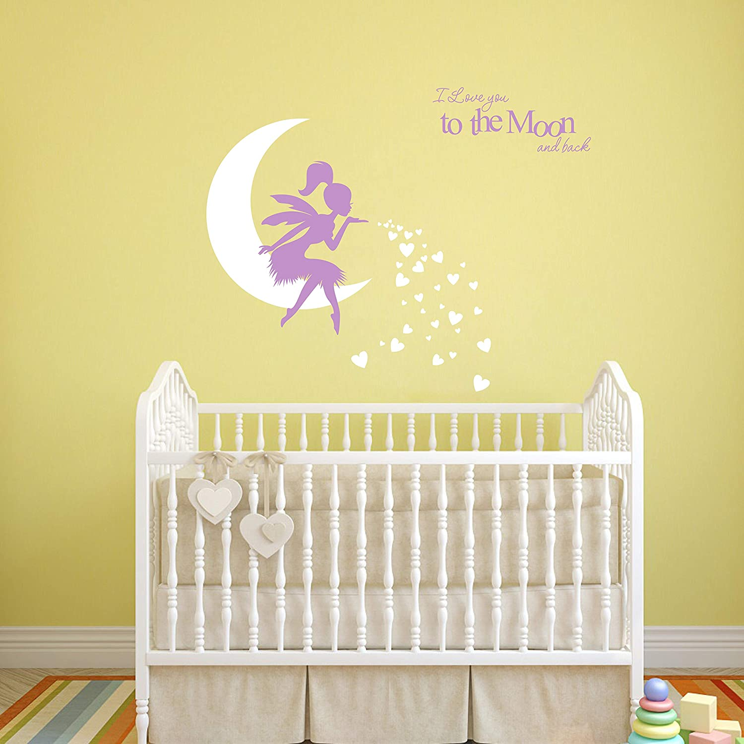 Amazon Com Fairy Wall Decal I Love You To The Moon And Back Fairy Wall Sticker For Girl Kids Bedroom Wall Decals Nursery Decor A19 Purple White Home Kitchen