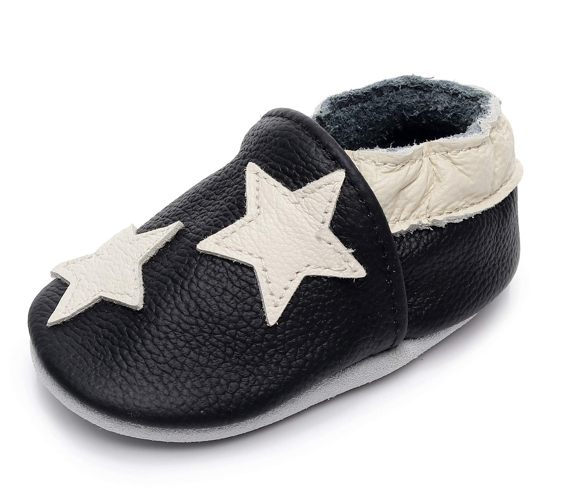 "Bebila  Baby Boys Girls Shoes Leather Baby Moccasins Soft Soled Infant Crawling Slippers for 0-24 Months  (US 6.5/5.31""/ 12-18months/see Size Chart, Star)"