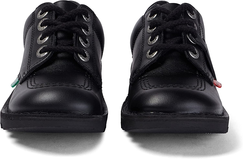 Kickers Kick Lo J Black Patent Child School Shoes