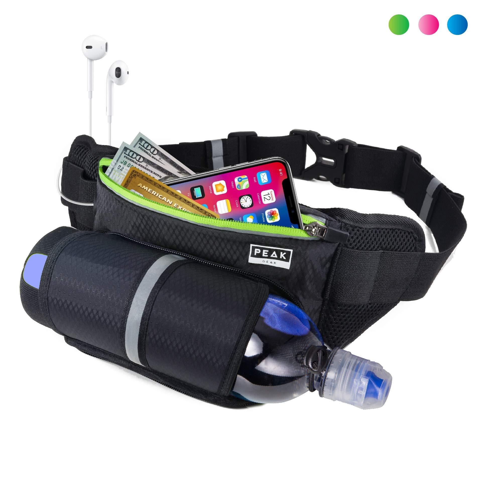 Peak Gear Waist Pack and Water Bottle Belt - New Larger Size - Hydration Fanny Pack for Jogging, Walking or Hiking (Green Zipper) by Peak Gear