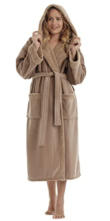 985e832ed5 Arus Women s Sherpa Trim Microfiber Velour Touch Hooded Bathrobe Fleece Robe  Cappuccino SM Camel