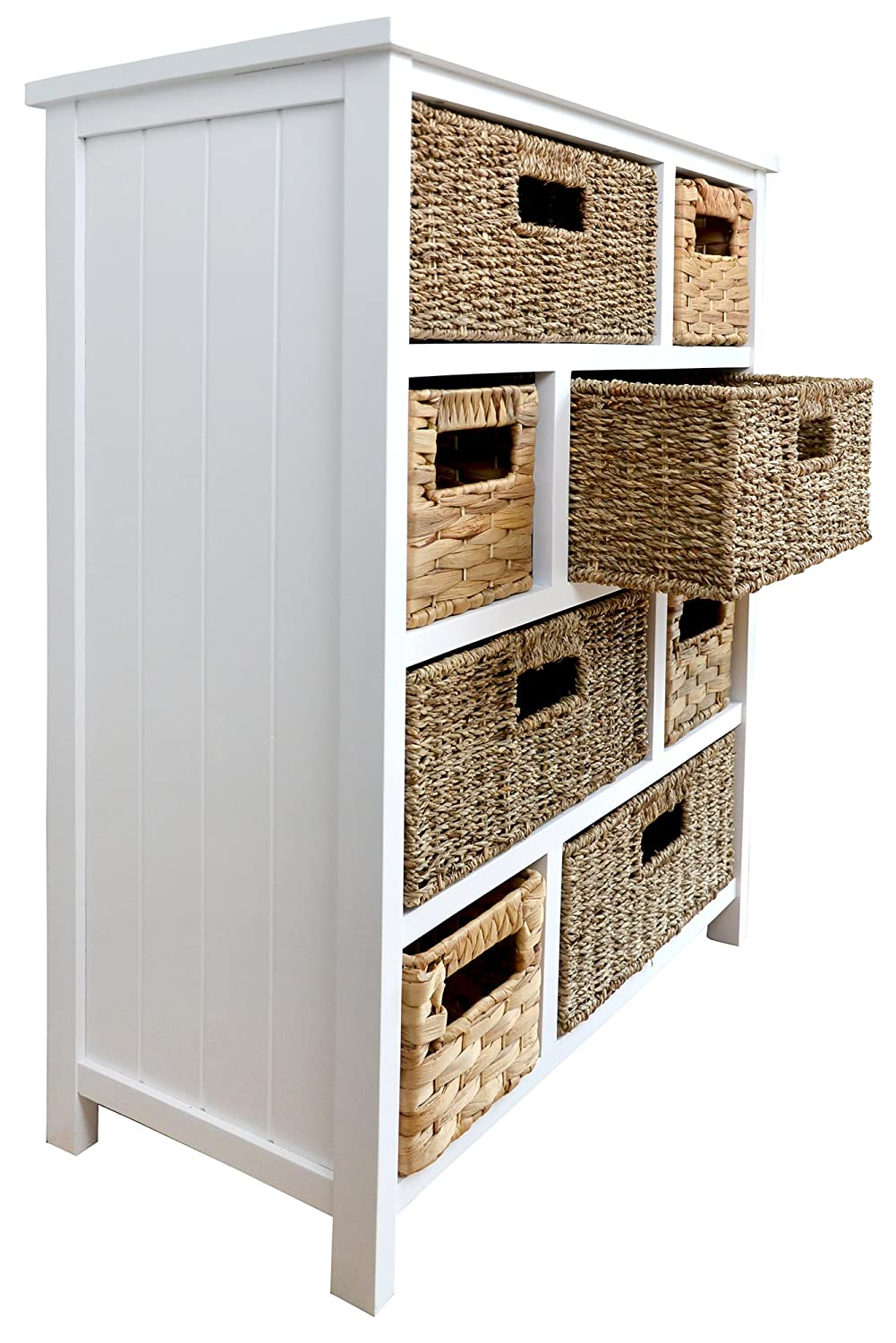 Tetbury white storage unit with 5 drawers bedroom furniture direct - Tetbury Large White Storage Chest Of Drawers Sturdy White Basket Storage Unit Bathroom Hallway Storage Assembled Amazon Co Uk Kitchen Home