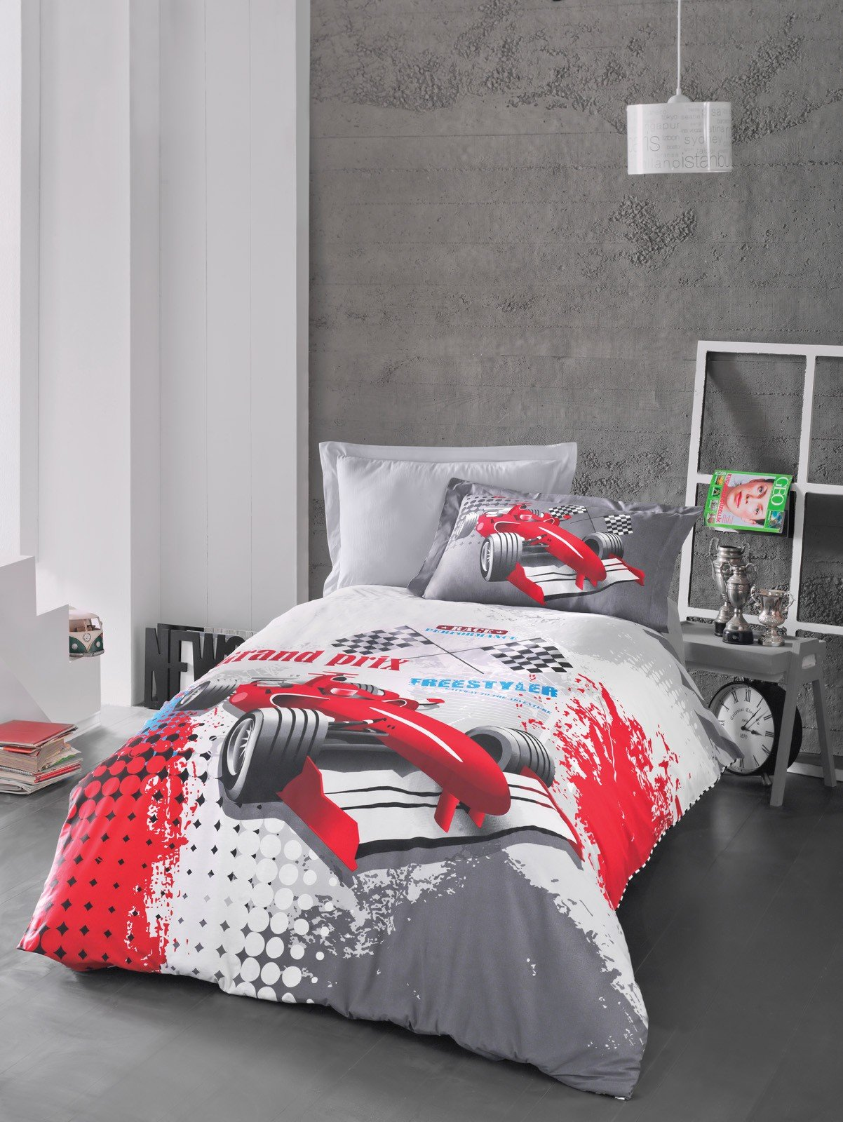 Bekata Grand Prix, 100% Cotton Kids Cars Bedding Quilt/Duvet Cover Set, Boy's Bedding Linens, Generic Formula 1 Racing Car Illustration, Single/Twin Size, (3 PCS)