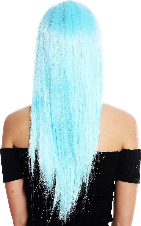 WIG ME UP- VK-8-T4516 peluca de mujer pelo largo liso flequillolargo raya color azul claro frío