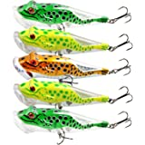 Burning Shark Frog Fishing Lure, 5Pcs Lifelike Topwater Hard Lures Popper Crankbaits with Plastic Tackle Box for Bass Trout Walleye Redfish