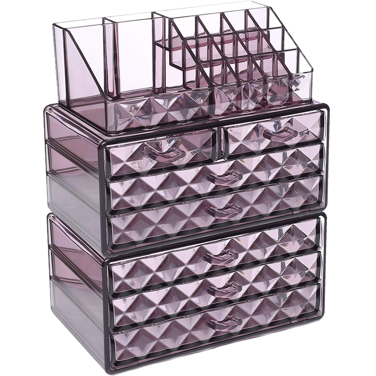 Ikee Design Acrylic Purple Diamond Pattern Jewelry & Cosmetic Storage Display Boxes 3 Pieces Set