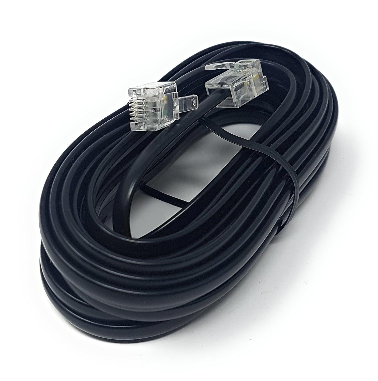 flaches ADSL-Hochgeschwindigkeits-Breitbandmodem-Kabel Langes erh/ältlich in 1/m, 2/m, 3/m, 5/m, 10/m, 15/m, 20/m, 30/m 1m Schwarz schwarzes RJ11/auf RJ11/