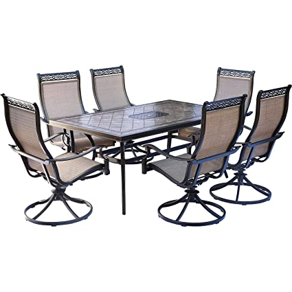 Hanover Monaco 7 Piece Dining Set With Six Swivel Rockers And A 68 X 40  Dining