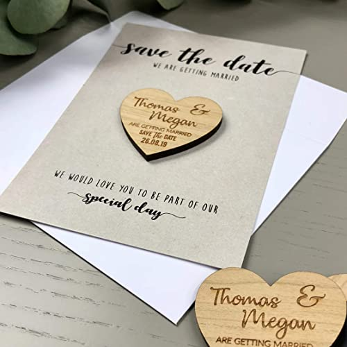 Personalised Invitation Wood Save the Date Magnets Rustic Wedding Save The Date Heart Save The Date Magnet Magnets with Cards