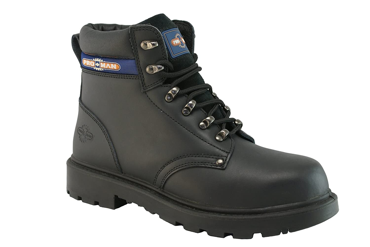 7ee4621df36 Pro-Man Men's Leather Steel Toe Cap Work Boots Pair US Size 9 Black ...