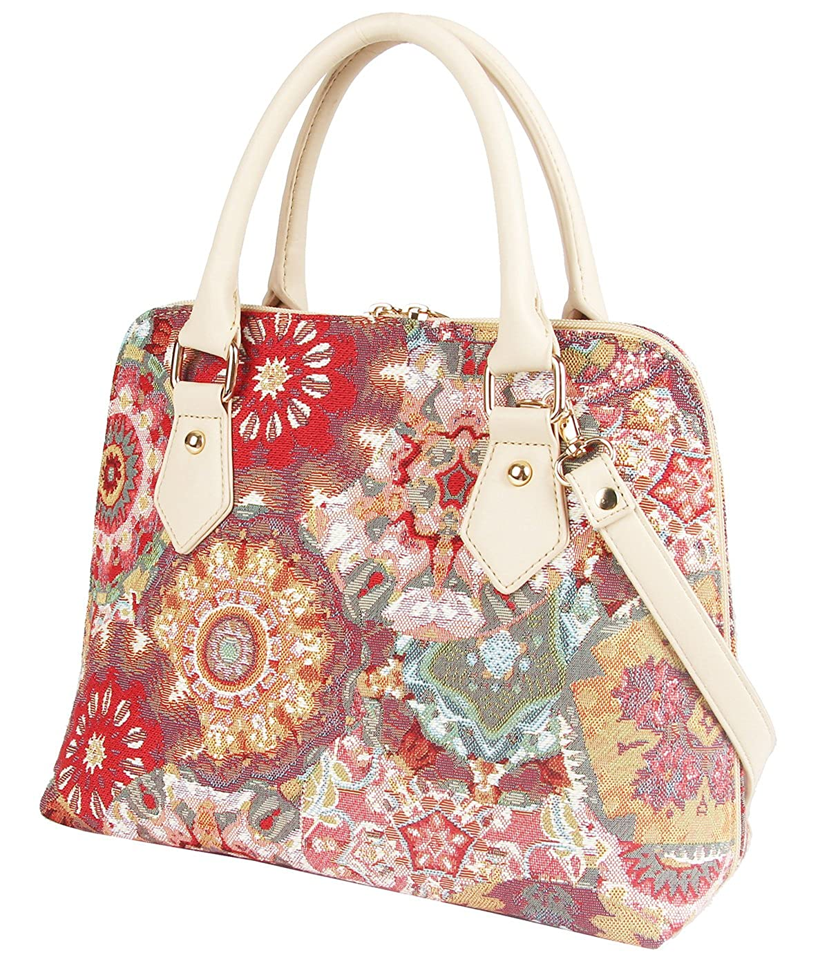 b596479d36cc Signare Pink Kaleidoscope Women s Fashion Canvas Tapestry Top Handle Handbag  with Detachable Strap to Convert to Shoulder Bag (Conv-Kale)