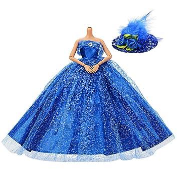 Asiv Premium Hecho Mano Moda Brillante Vestidos de Novia de Princesa Ropa Vestido para Barbie con