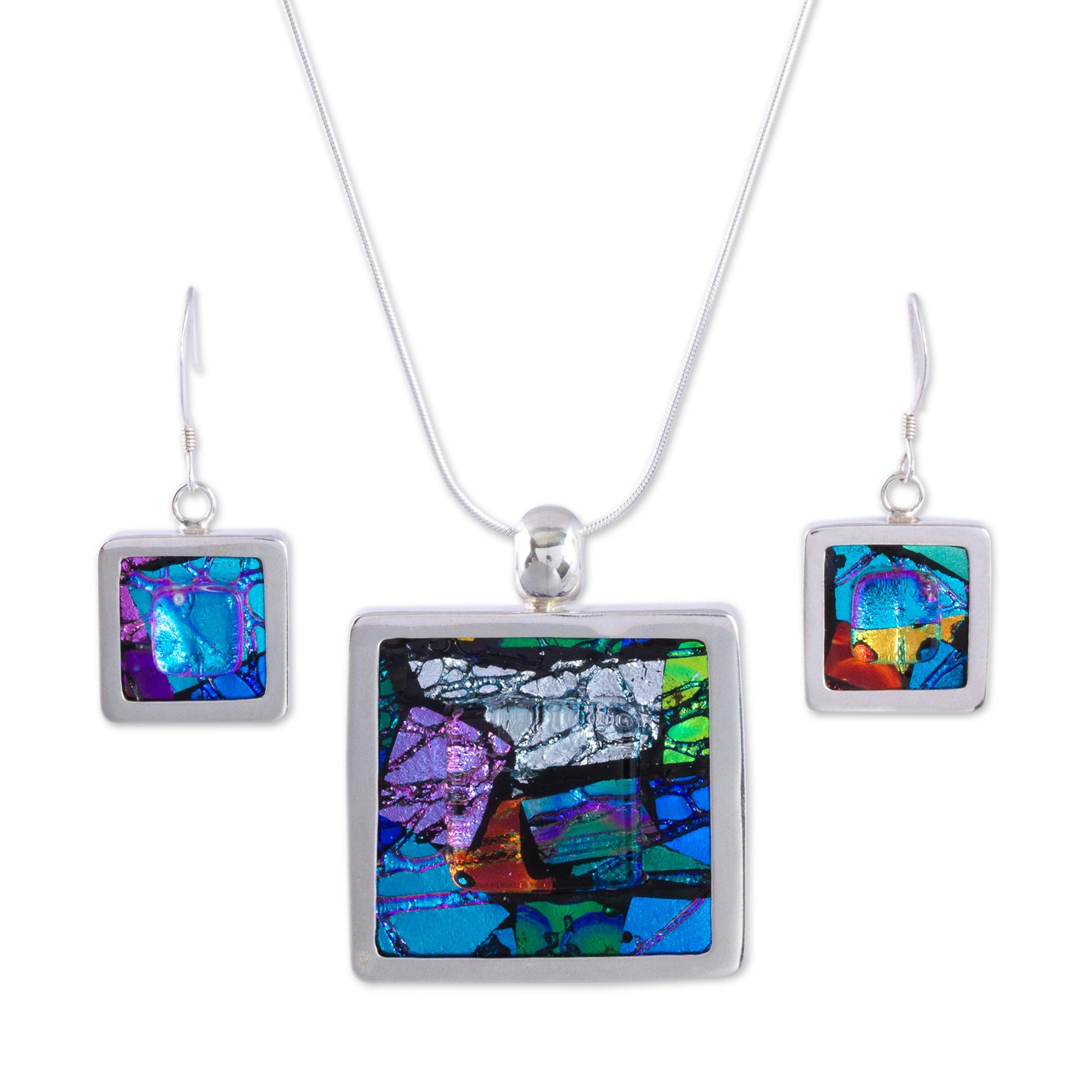 NOVICA .925 Sterling Silver Glass Jewelry Set 'Summer Abstract'