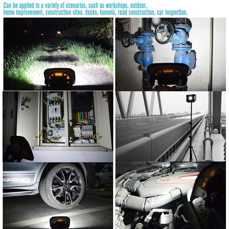 Blissporte LED Work Lamp 10w//1000Lm Brightness Japan Design SEOUL Chip Work Lighting Built-in Battery 4400mAh Rechargeable Portable Floodlight IP65 Waterproof Outdoor Lightings Plastic White Body